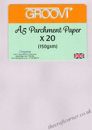 A5 Parchment Paper x 20 Sheets (150gsm) From The Groovi Range